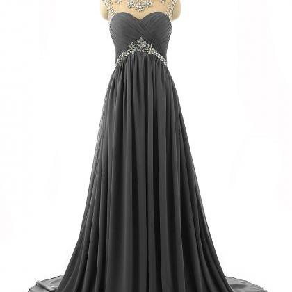 Grey Prom Dresses 2017,Sheer Prom D..