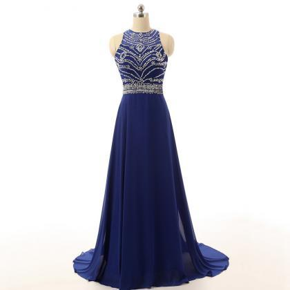 Royal Blue Prom Dresses,Beaded Prom..