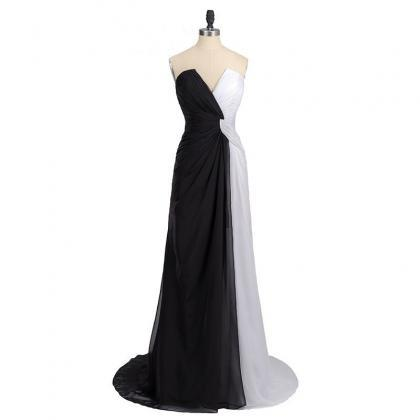 Black White Colour Block Strapless ..