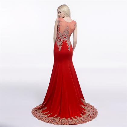 Red Prom Dresses,Mermaid Evening Dr..