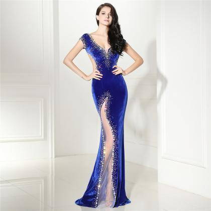Royal Blue Mermaid Prom Dresses For..