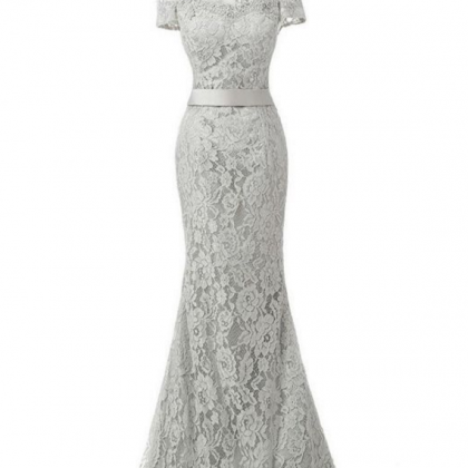 Grey Lace Mermaid Prom Dress,Off Th..