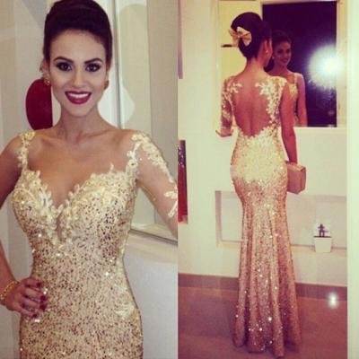 Gold Sequins Prom Dresses,Mermaid Prom Dresses,Formal Women Gowns,Arabic Evening Gowns