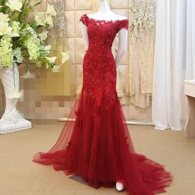 Charming Lace Mermaid Prom Dress,Burgundy Prom Dress,Evening Dresses 2018,Formal Gowns,Banquet Dress,Party Gowns
