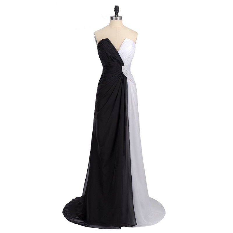 Black White Colour Block Strapless Plunge V Floor Length Formal Dress, Prom Dress