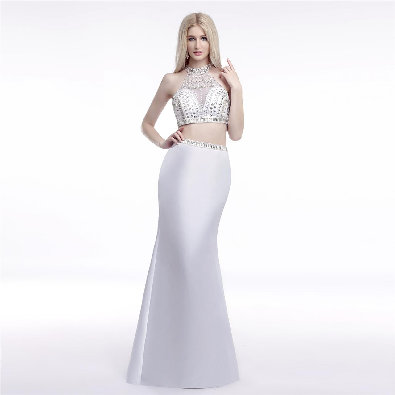 Bling Bling Two Piece Beading Prom Dress,Mermaid Prom Dresses,White Prom Dresses 2018,Formal Dress,Vestido De Festa