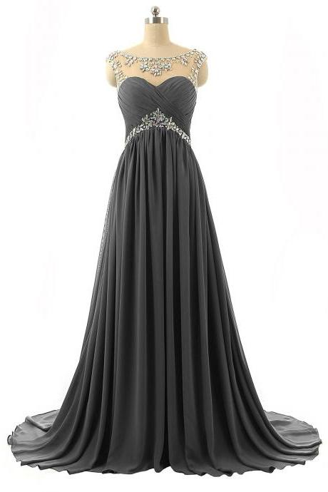 Grey Prom Dresses 2017,Sheer Prom Dresses,Chiffon Beaded Prom Dress,Floor Length Evening Gowns