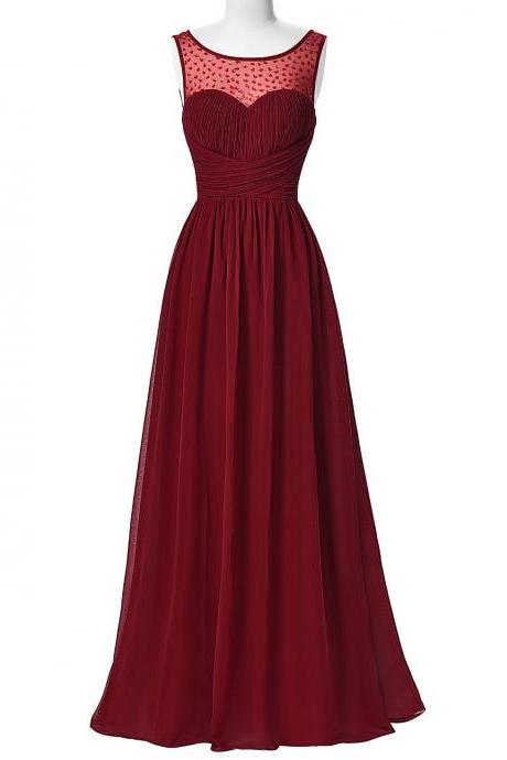Cheap Burgundy Prom Dresses 2018,Sheer Prom Dresses,Floor Length Evening Gowns,Long Formal Dresses