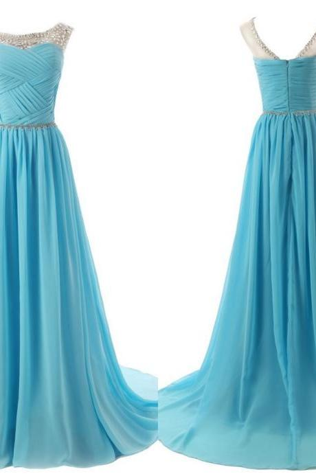Sky Blue Prom Dresses,Beaded Prom Dresses,Prom Dresses 2018,Women Formal Dresses,Evening Gowns