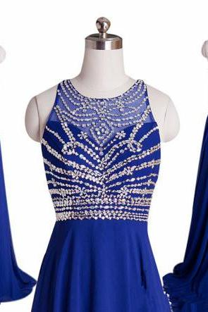 Royal Blue Beaded Prom Dresses 2018 Floor Length Sheer Formal Women Evening Gowns