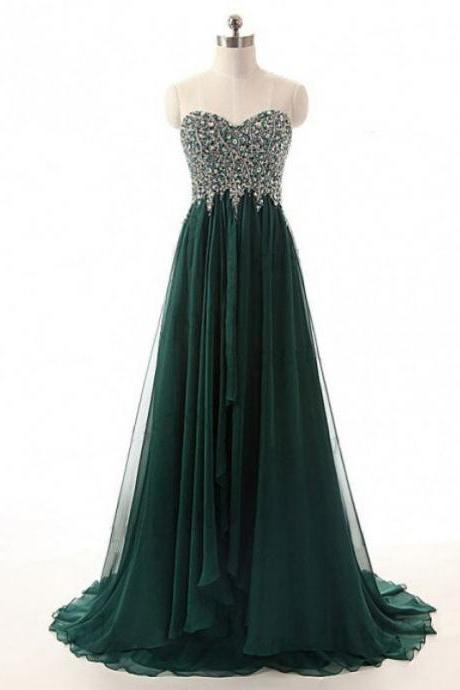 Dark Green Prom Dresses,Beaded Prom Dresses,Sweetheart Prom Dresses,Formal Women Evening Gowns