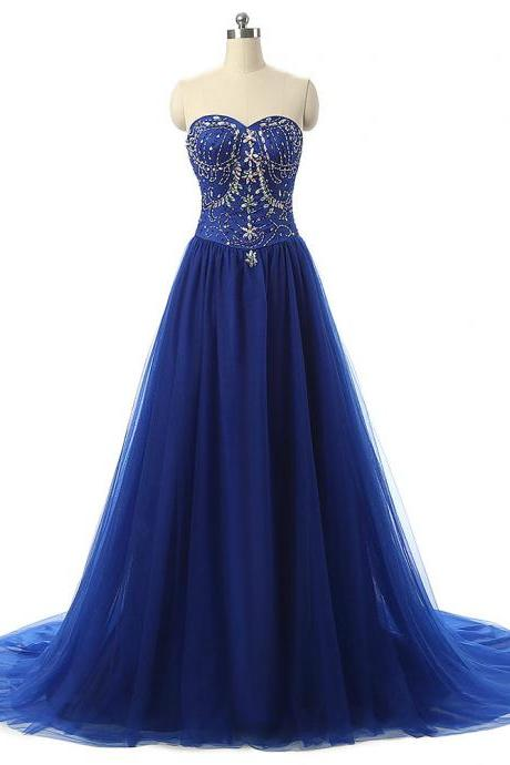 Royal Blue Beaded Embellished Sweetheart Floor Length Tulle A-Line Formal Dress, Prom Dress