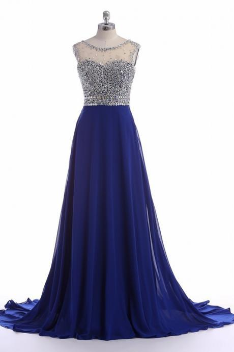 Royal Blue Prom Dresses,Beaded Prom Dresses,Sheer Prom Dress 2018