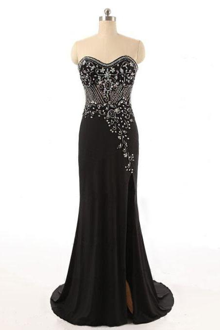 Black Prom Dresses,Beaded Prom Dresses,Sweetheart Prom Dress,Evening Dress,Formal Dresses