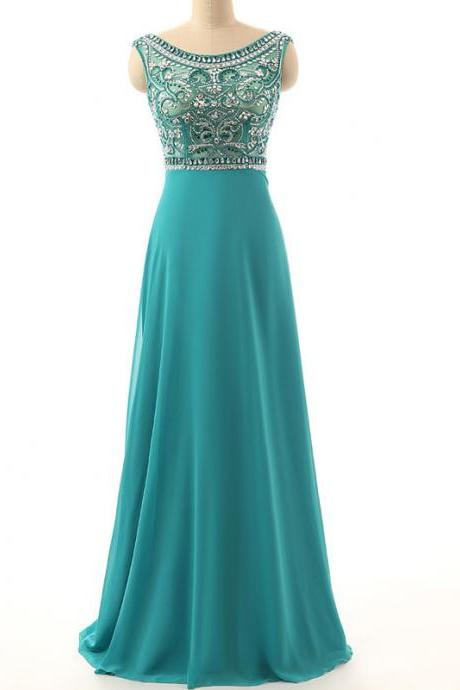 Luxury Beaded Prom Dresses,Crystal Prom Dresses,Evening Dress 2018,Formal Dresses