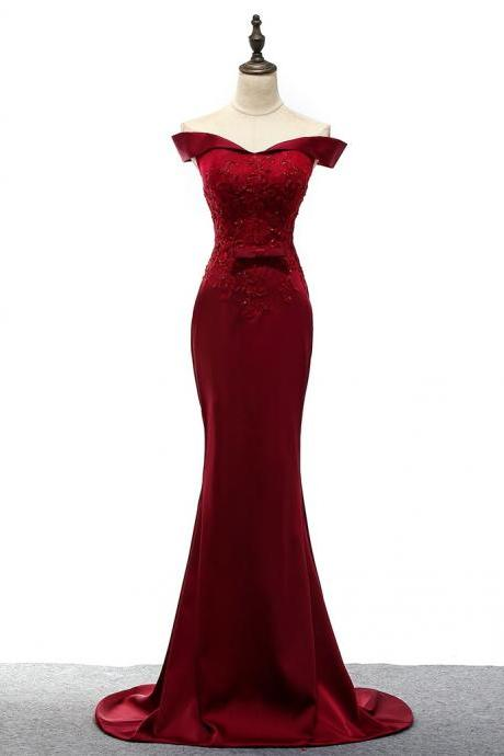 Burgundy Beaded Embellished Off-The-Shoulder Floor Length Mermaid Formal Dress Featuring Lace-Up Back, Prom Dress