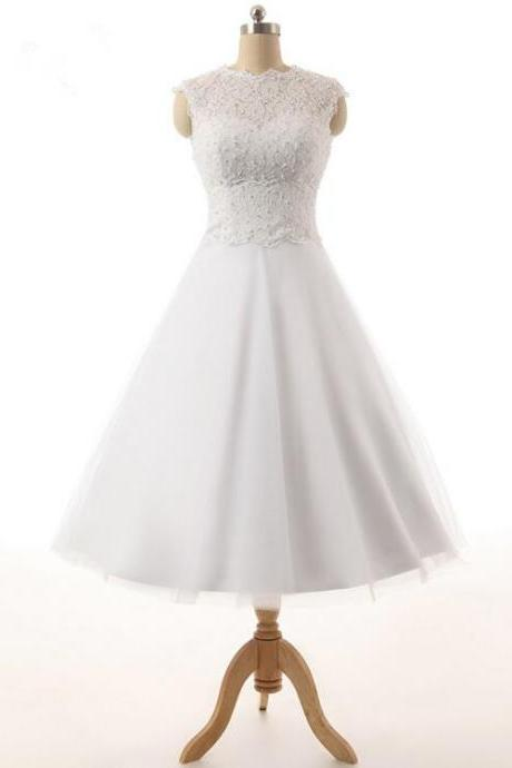Sleeveless Lace Appliqués A-line Short Knee-Length Wedding Dress