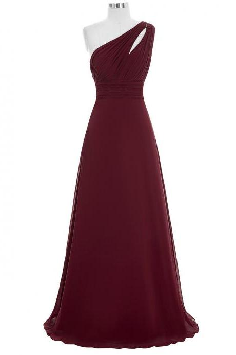One Shoulder Bridesmaid Dresses,Burgundy Bridesmaids Dresses,Long Maid Of Honor Dress
