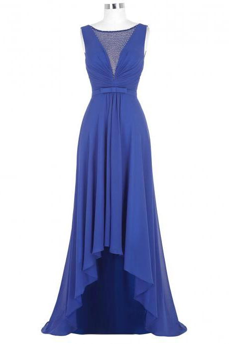 Royal Blue Sheer Prom Dresses,High Low Prom Dresses,Formal Dresses 2018,Evening Gowns