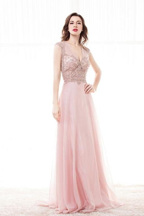 Sexy Pink Beaded Prom Dresses 2018 Deep V Neck Floor Length Evening Dresses Formal Party Dress