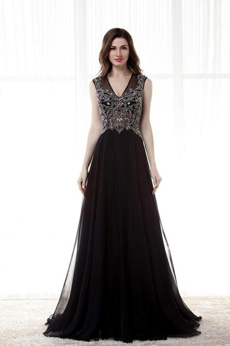 Modest Black Prom Dresses,Deep V Neck Prom Dresses,Beaded Prom Dress,Formal Evening Gowns