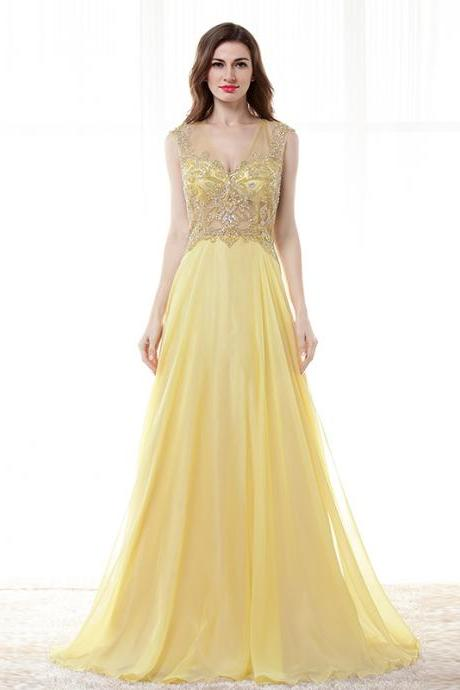 Yellow Deep V Neck Prom Dresses Beaded Chiffon Evening Dress Formal Party Gowns 2018
