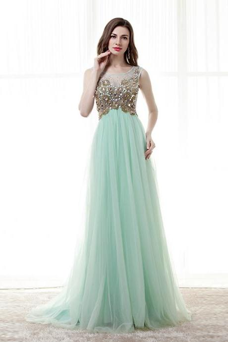 Mint Green Prom Dresses,Sheer Beaded Prom Dress 2018,Sexy Women Evening Dress,Formal Party Gowns
