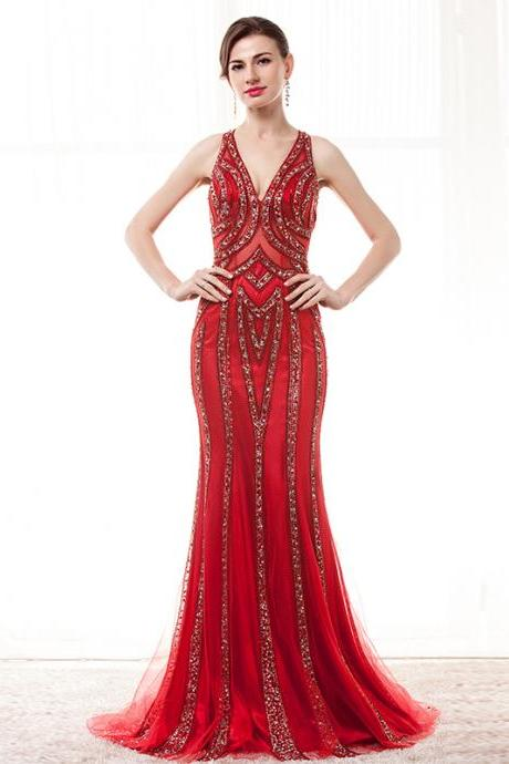 Luxury Red Prom Dresses,Beaded Prom Dresses 2018,Mermaid Formal Dresses,Women Evening Party Gowns