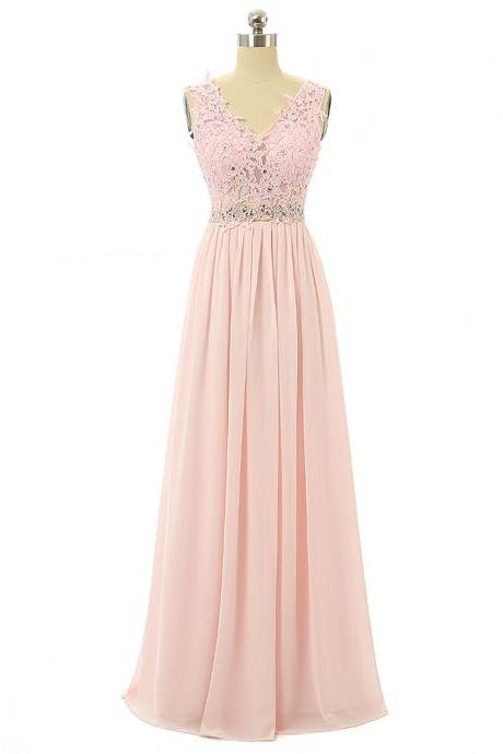Pink Lace Appliques Plunge V Sleeveless Floor Length Chiffon A-Line Wedding Guest Dress