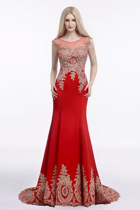 Red Prom Dresses,Mermaid Evening Dresses Arabic,Pretty Beading Formal Dress With Appliques,Party Gowns 2018