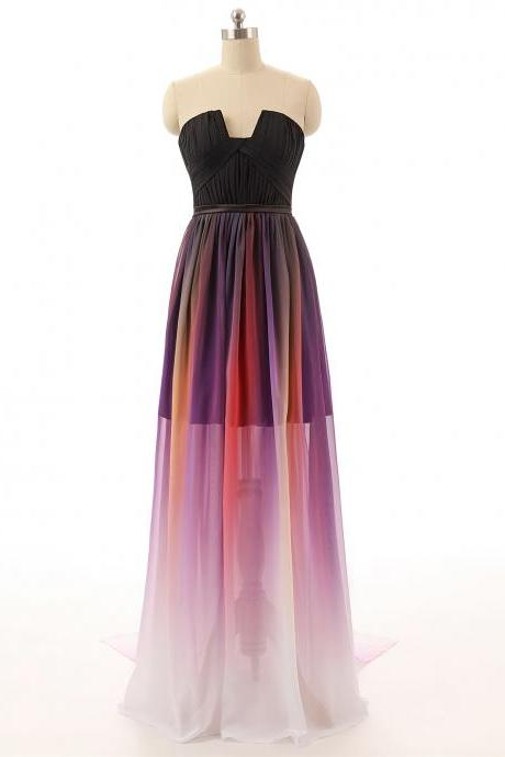 Strapless Ruched Ombre Chiffon A-line Long Prom Dress, Evening Dress