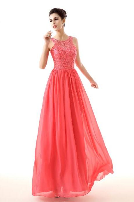 Pink Evening Dresses,Lace A-line Prom Dresses,O-neck Prom Dresses 2018,Formal Dress,Vestido De Festa