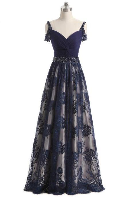 Navy Blue Off-The-Shoulder Plunge V Floral Lace Floor Length Formal Dress, Prom Dress