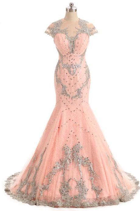 Pink Beaded Mermaid Prom Dresses 2018 Cap Sleeve Formal Women Evening Gowns Vestido De Festa