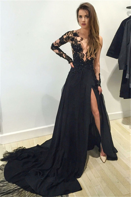 Black Prom Dresses,Sexy Deep V-neck High Split Evening Dresses,Beading Prom Dresses With Appliques 2018