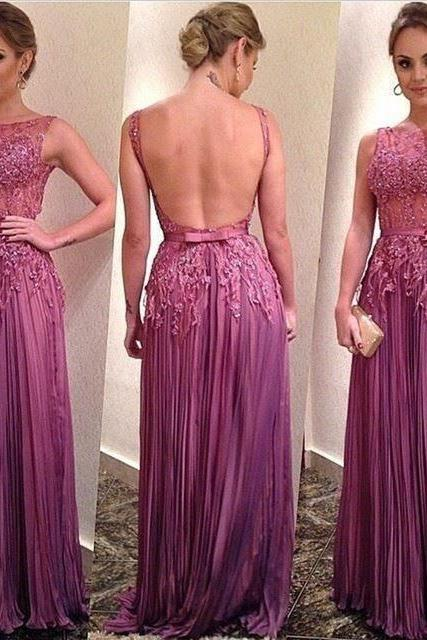 2018 A-line Chiffon Long Prom Dresses,Lavender Beading Prom Dress With Appliques,Custom Made Formal Evening Gowns