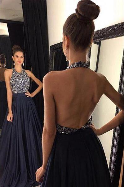 Black O-neck A-line Satin Prom Dresses,Sexy Backless Prom Dresses,Custom Made Beading Evening Gowns 2018
