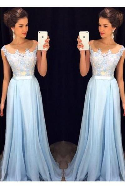 Elegant Lace A-line Chiffon Floor-length Prom Dresses,Beading Prom Dresses With Appliques,Formal Evening Gowns