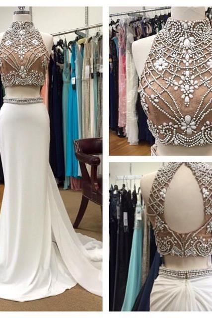 Real Photo Champagne Two Piece Prom Dresses 2018 Formal Women Evening Gowns