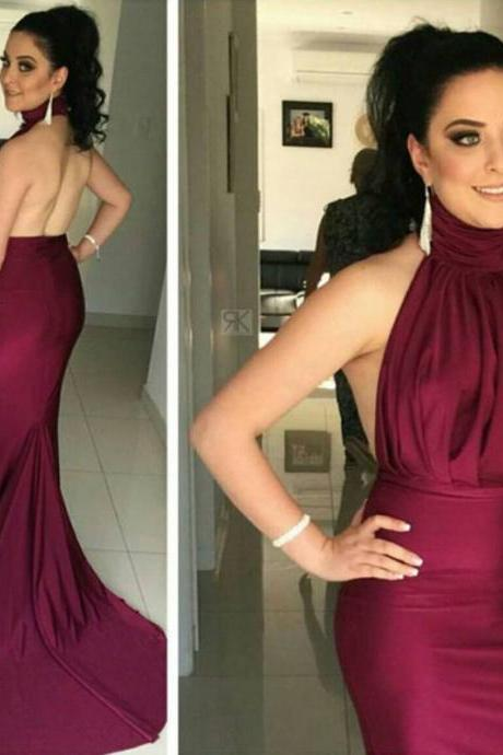 Burgundy Prom Dresses,Mermaid Prom Dress,Backless Evening Gowns,Formal Party Dress
