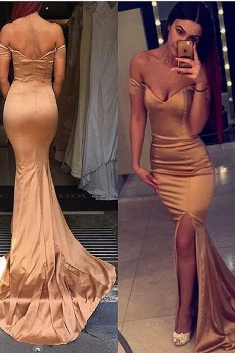 Champagne Mermaid Prom Dresses,Mermaid Prom Dresses For Women,Off The Shoulder Evening Gowns
