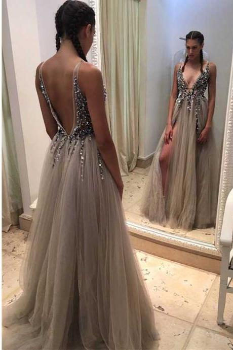 Silver Beaded Prom Dresses,Deep V Neck Prom Dress,Formal Evening Gowns,Party Dress 2018