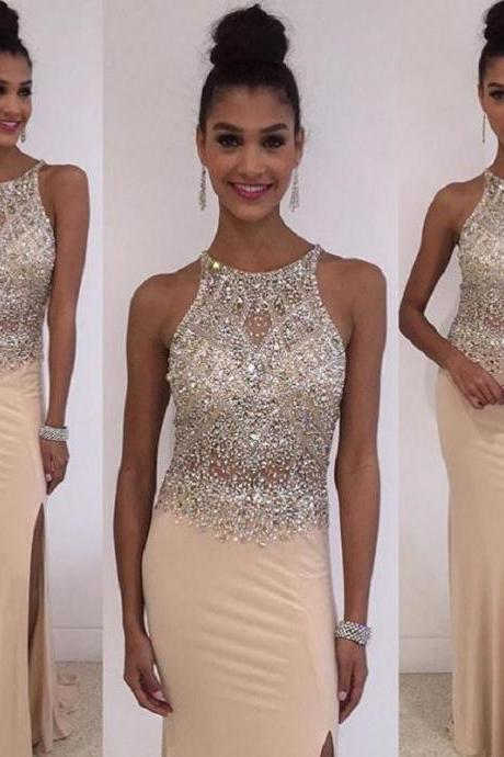 Champagne Mermaid Prom Dresses,Beaded Prom Dress For Women,Evening Gowns,Formal Dress