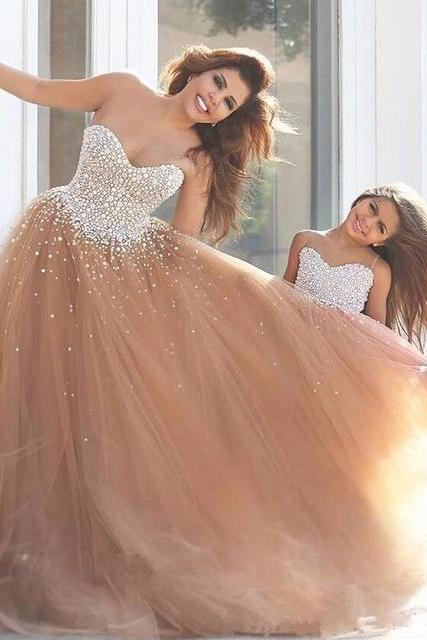 Champagne Beaded Prom Dresses Long 2018 Sweetheart Formal Women Evening Gowns Party Dress