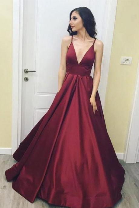 Cheap Burgundy A-line Satin Prom Dresses,Deep V-neck Sleeveless Prom Dress For Women,Evening Gowns