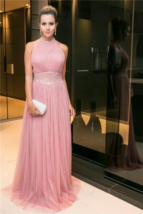 Real Photo A-line Chiffon Long Prom Dress,Pretty O-neck Beading Prom Dress For Women,Formal Evening/Party Gowns