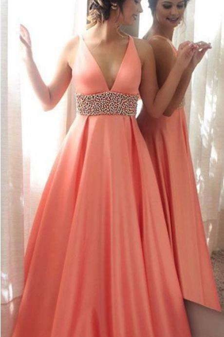 Orange A-line Satin Long Prom Dresses,Deep V-neck Beading Prom Dress For Women,Formal Evening/Party Gowns
