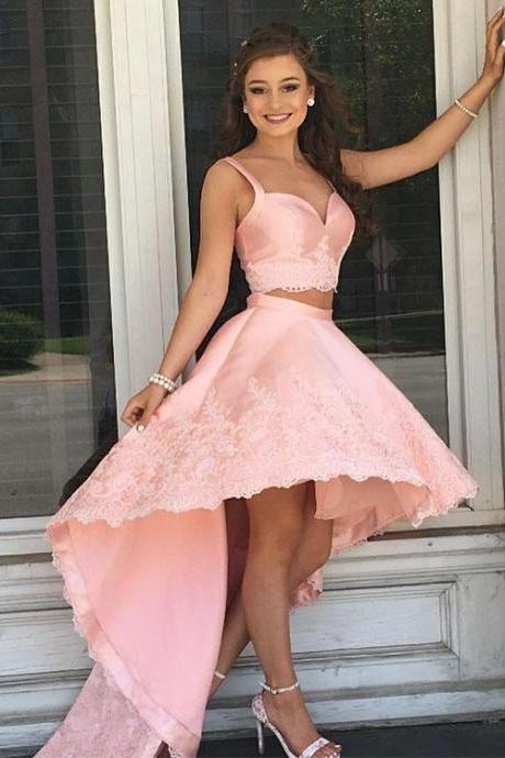 Pink Two Piece Satin Long Prom Dresses,Lace High-low Prom Dresses For Women,Formal Evening/Party Gowns 2018