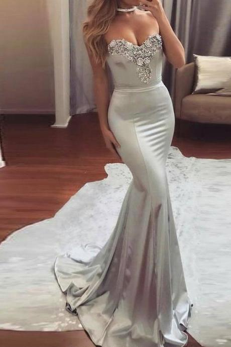 Grey Prom Dress,Mermaid Prom Dress,Beading Sweetheart Satin Prom Dress,Formal Evening/Party Gowns 2018