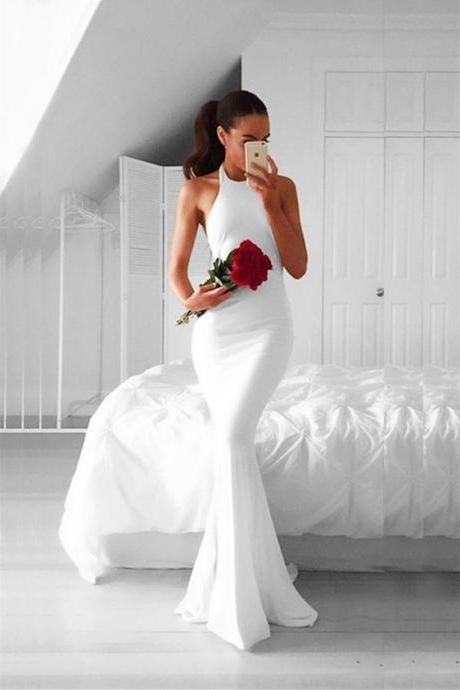 Real Photo White Satin Prom Dresses,Simple O-neck Mermaid Long Prom Dress,Formal Evening/Party Gowns